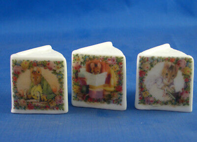 Fine China Thimbles - Set Of Three Miniature Book Style -  Beatrix Potter Mice