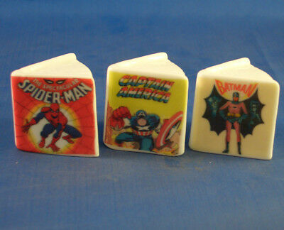 Fine China Thimbles - Set Of Three Miniature Book Style -  Comic Heroes