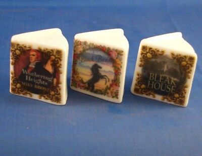 Fine China Thimbles - Set Of Three Miniature Book Style -  English Classics