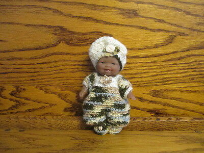 "Berenguer 5"" African American Doll + Ooak Crochet Outfit Baby Jumper Hat Booties"