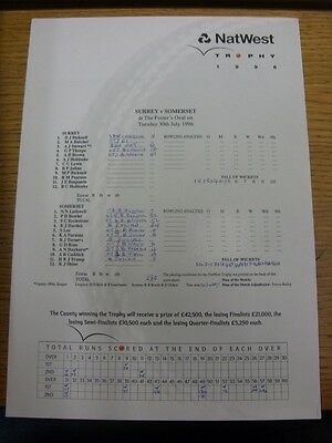 30/07/1996 Cricket Scorecard: Surrey v Somerset [At The Oval] 1 Day Match - NatW