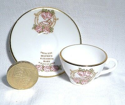 Caverswall  Miniature Cup & Saucer  Birth Princess Beatrice