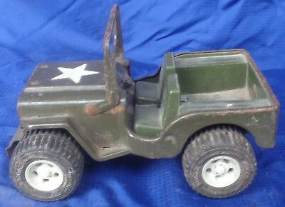 RP2208 Vtg Tonka Military Army Jeep Pressed Steel