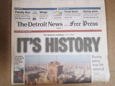 Hudson's Building in Detroit Implodes Oct. 24, 1998 - New & Free Press Newspaper