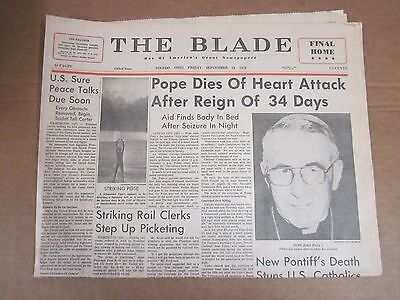 Vintage Newspaper - Pope Dies of Heart Attack After Reign of 343 Days - 1978