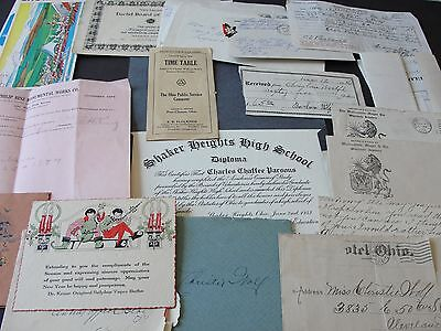 Lot of (18) Papers ,Documents, Business Letters ,Family Letters, ets,1914-1970s