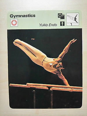 GYMNASTICS YUKIO ENDO JAPAN Sportscaster Rencontre Fact Card -  Rare