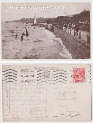 Early Postcard, Essex, Westcliff On Sea, Promenade Looking West,People Swimming