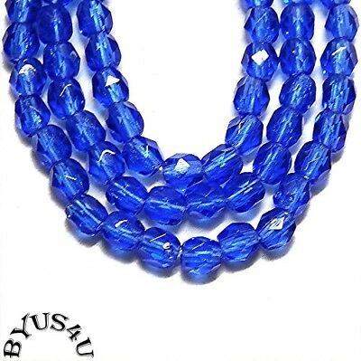 GLASS BEADS 4mm ROUND FACETED CZECH FIREPOLISHED SAPPHIRE BLUE 100pc