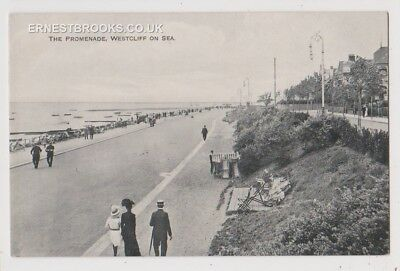 Early Postcard, Essex, Westcliff On Sea, The Promenade, People Outside,