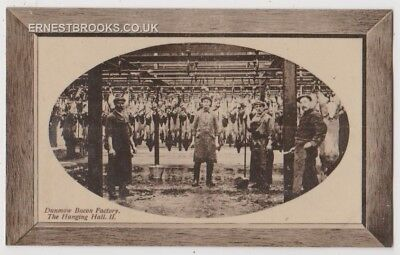 Early Postcard, Essex, Dunmow, Bacon Factory, The Hanging Hall 11, With Workers