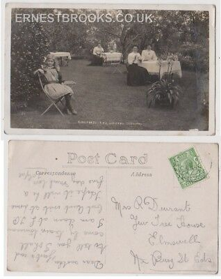 Early Postcard, Essex, St Osyth,   Kingsfords Tea Gardens, People Outside, RP
