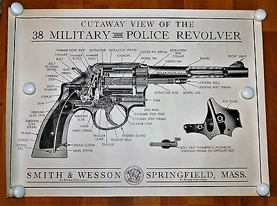 Vintage SMITH AND WESSON Cutaway View 38 Military And Police Revolver Poster