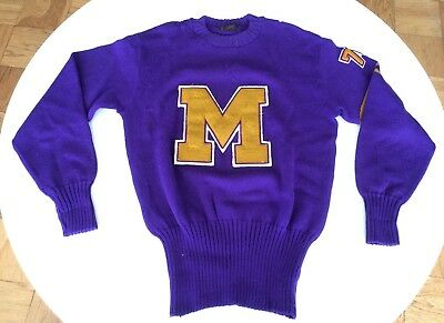 Vintage Varsity Letterman Sweater Purple & Gold Med - Large from 1940s - 1950s