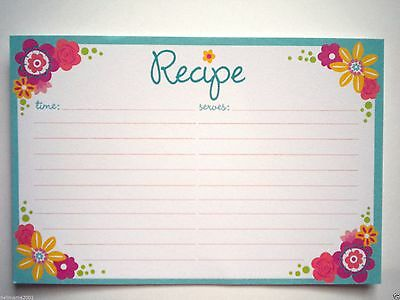 "PKG. OF 30 COLOURFUL FLOWERS RECIPE CARDS ~ 6"" x 4"""