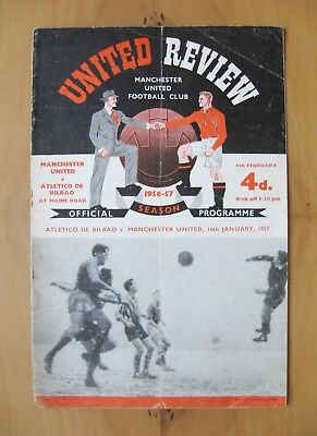 MANCHESTER UNITED v ATHLETIC BILBAO European Cup 1956/1957 *Fair Cond Programme*