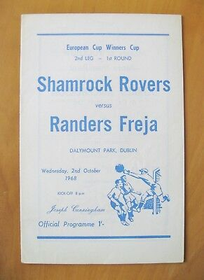 SHAMROCK ROVERS v RANDERS FREJA ECWC 1968/1969 *VG Condition Football Programme*