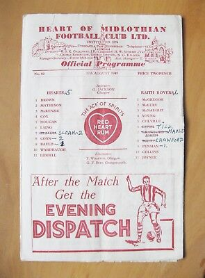 HEARTS v RAITH ROVERS League Cup 1949/1950 *Good Condition Football Programme*