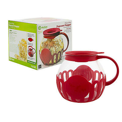 Harold Ecolution 1.5Qt Micro-Pop Microwave Snack Size Glass Popcorn Popper - Red