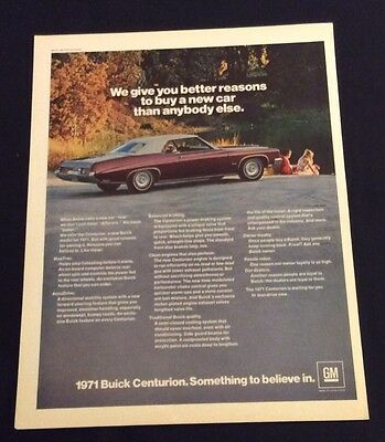 1971 Buick Centurion Print Ad - Something To Believe In