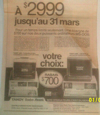 1969 Tandy/radio Shack 1200 Hd & 2000 Computers Original Ad In French