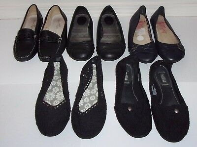 Lot of 5 Pairs Womens Size 10 Black Shoes Flats - Mad Love, Jellypop, Route 66