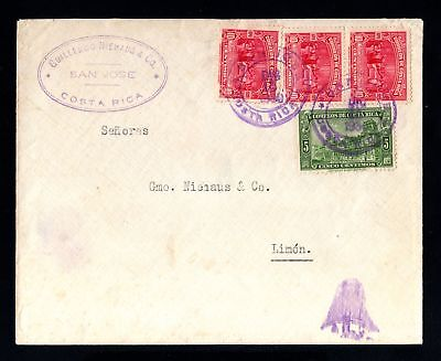 17362-COSTA RICA-OLD COVER SAN JOSE to LIMON.1930.WWII.Envelope.busta.brief.