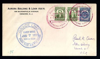 17202-COLOMBIA-OLD COVER BARRANQUILLA to NEWWARK (usa) 1933.WWII.sobre.busta.