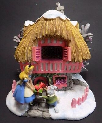 Disney Alice In Wonderland Christmas Winter Village Light Up House White Rabbit