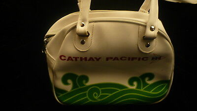Cathay Pacific Classic bag 2 pockets purse carry leather? vintage colours 1970?
