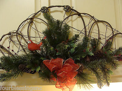 "Grapevine Spray/wreath-Rustic-Vintage Red Bird-32"" Long-On/over Door Frame-New"