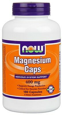 Magnesium 400 mg 180 Caps Now Foods, Nervous System Support