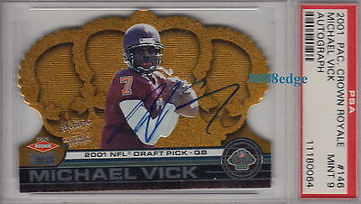 2001 Crown Royale Rookie Rc Auto #146: Michael Vick #6/250 Autograph Psa 9 Mint