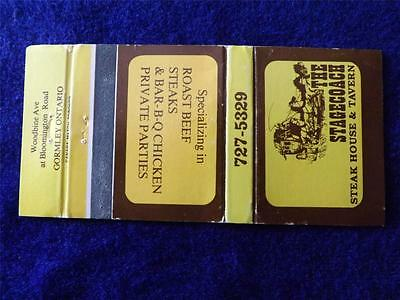 The Stagecoach Steak House Tavern Gormly Ontario Canada Vintage Matchbook
