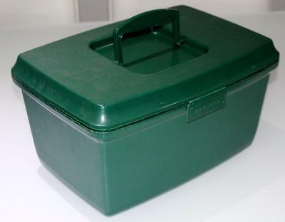 Vintage Retro Green Craft / Sewing Box SINGER 1970'S