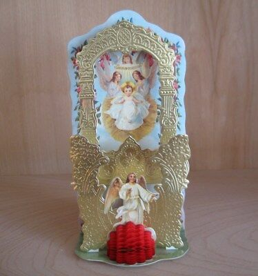 Religious Christmas ANGELS Pop-Out honeycomb NATIVITY SCENE Very Pretty and Rare