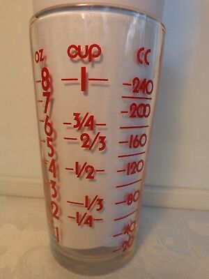 Vintage Edward Don & Co Advertising Measuring Cup Glass Tumbler 8 oz Red Letters