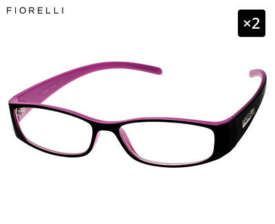 2 x Fiorelli Women's Catwalk Wendy Reading Glasses - Black/Fuchsia