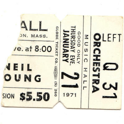 NEIL YOUNG Concert Ticket Stub BOSTON MA 1/21/71 COWGIRL IN THE SAND Rare