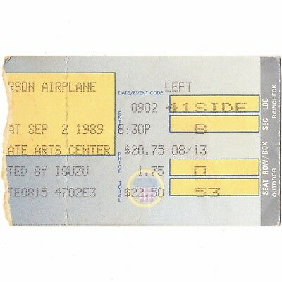 JEFFERSON AIRPLANE Concert Ticket Stub HOLMDEL NJ 9/2/89 GARDEN STATES ARTS CTR