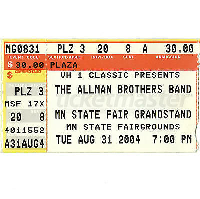 ALLMAN BROTHERS BAND Concert Ticket Stub ST PAUL 8/31/04 STATE FAIR GRANDSTAND