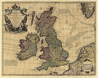 1700's Unique Map of the British Isles and Ireland - 16x20