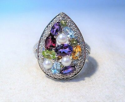 Estate Auctions QVC Exclusive Multi-Gemstone & Pearl Pear Shpd Cocktal Ring K622