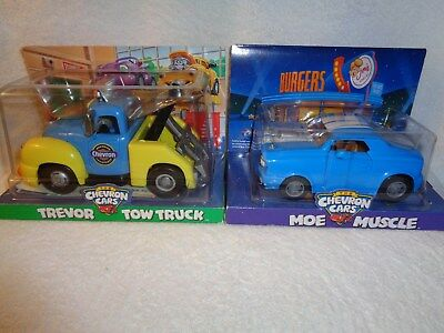 Chevron Cars Blue With Wide Stripes MOE MUSCLE - Doors/Hood Open - NEW IN BOX