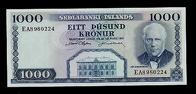 Iceland  1000 Kronur L.1961 Sign. 38 Pick # 46  Unc.