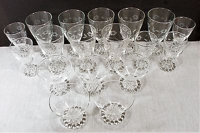 18 Anchor Hocking Boopie Engraved Cornflower Glasses 8 - 8 oz., 5 6 oz., 5 4 oz.