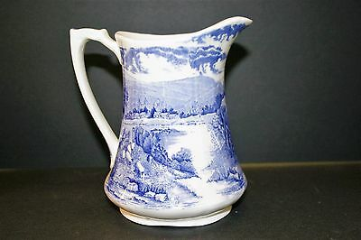 "Alfred Meakin Tintern Blue & White 16 oz Jug or Pitcher, 6"" Lake scenes Mint!"