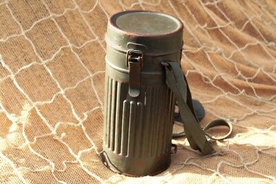 2WW German Army Gas Mask Container Tin- short 1st model, a lot of stamps around