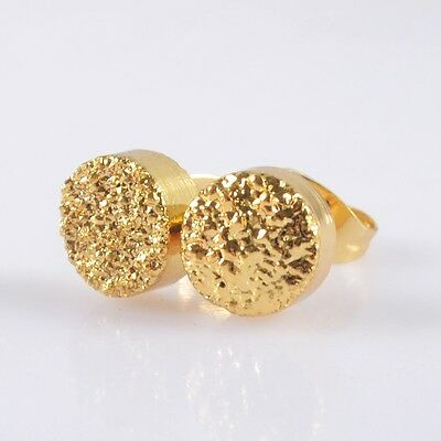 8mm Round Natural Agate Titanium Druzy Stud Earrings Full Gold Plated H93517