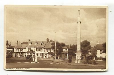Weybridge - Monument Green, road, buildings, car - c1950's Surrey postcard